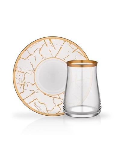 Glore Mermer Beyaz 6 Kişilik Çay Seti Renkli